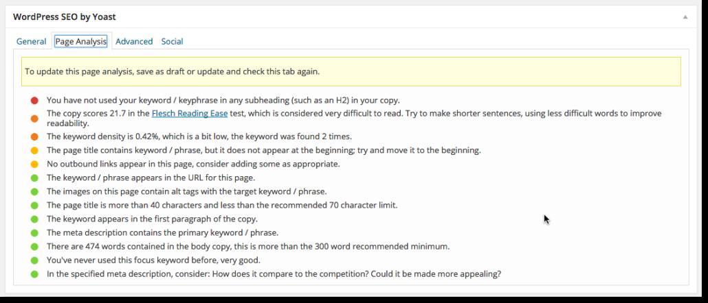 Yoast SEO gör automatiskt en analys av din sida och ger dig tips om hur du kan förbättra sökmotoroptimeringen. (Klicka på bilden för att göra den större)