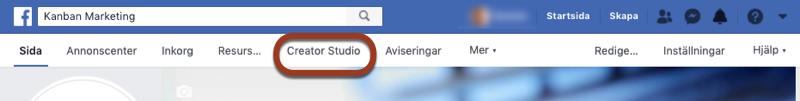 Hitta Facebook Creator Studio