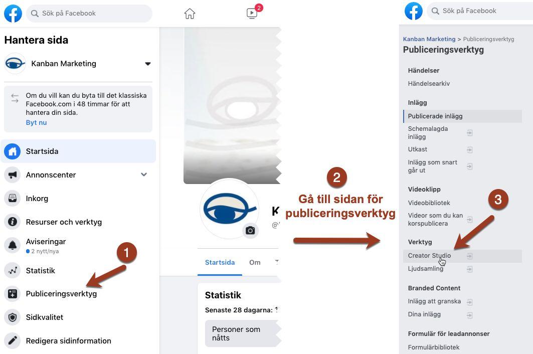 hur du kommer till Facebook Creator Studio